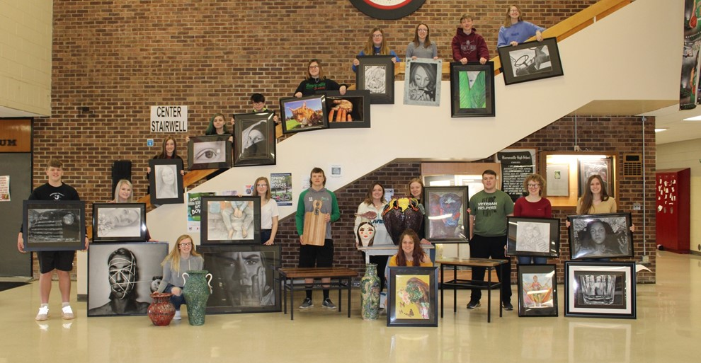 Students going to the art show.